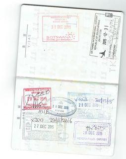 ザンビア、ジンバブエ、ボツワナ、南アフリカの出入国スタンプ