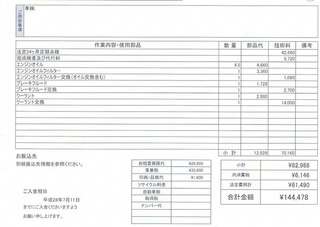 A5カブリオレ車検費用明細